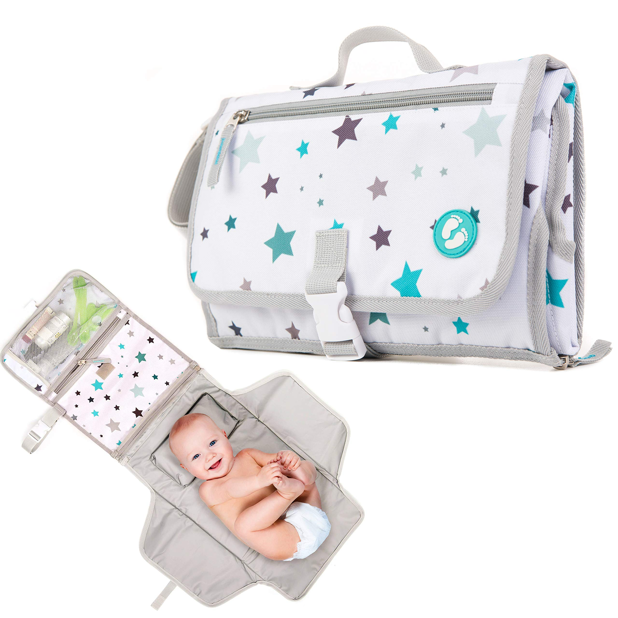 Portable Diaper Changing Pad with Pockets   Baby Changing Mat Station for Girls and Boys   On The Go Waterproof Baby Changing Pad by Ludivy by Ludivy