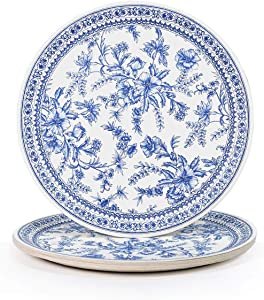 """Coterie Blue Flower Paper Plates - Cute Party Plates For Summer Party, Bridal Shower, Baby Shower, Tea Party, Garden Party, Birthday Party - Floral Paper Plates   9.25"""" Fancy Paper Plates   10 Count"""