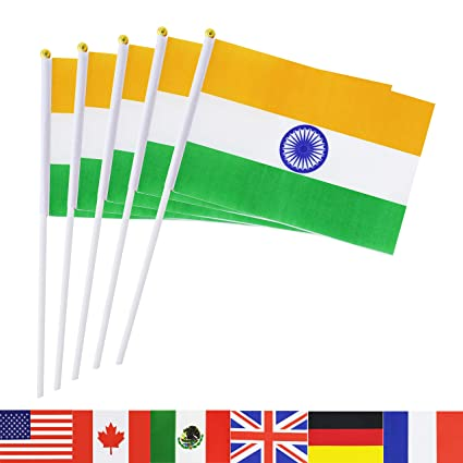 TSMD India Stick Flag, 50 Pack Hand Held Small Indian National Flags On  Stick,International World Country Stick Flags Banners,Party Decorations for