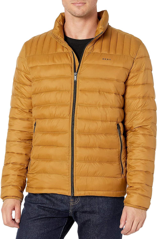 Gold XL DKNY Herren Water Resistant Ultra Loft Quilted Packable Puffer Jacket Daunenalternative, Mantel