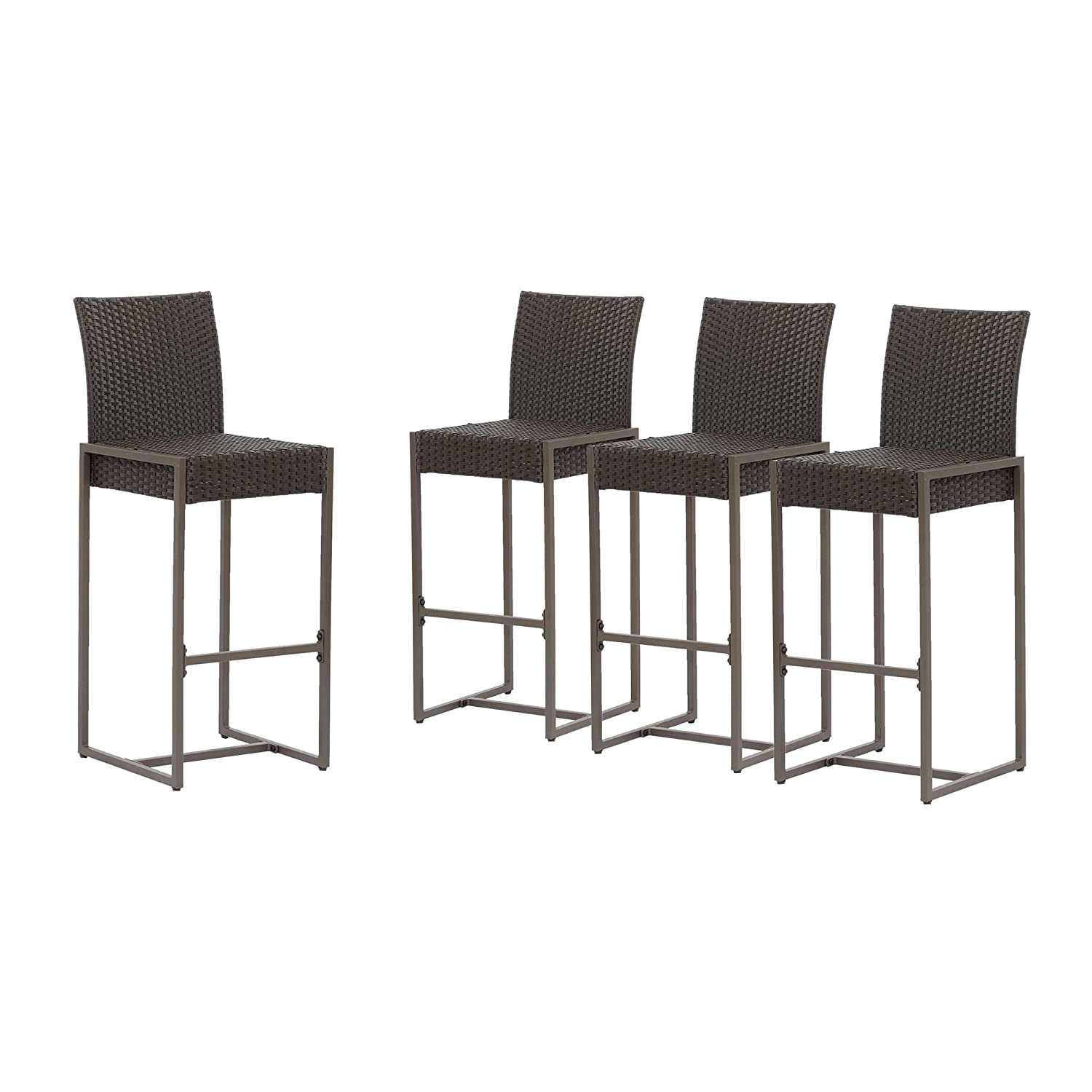 Christopher Knight Home 305162 Kelly Outdoor Wicker 30 Inch Barstool Set of 4 , Dark Brown