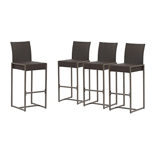 Christopher Knight Home 305162 Kelly Outdoor Wicker 30 Inch Barstool Set of 4