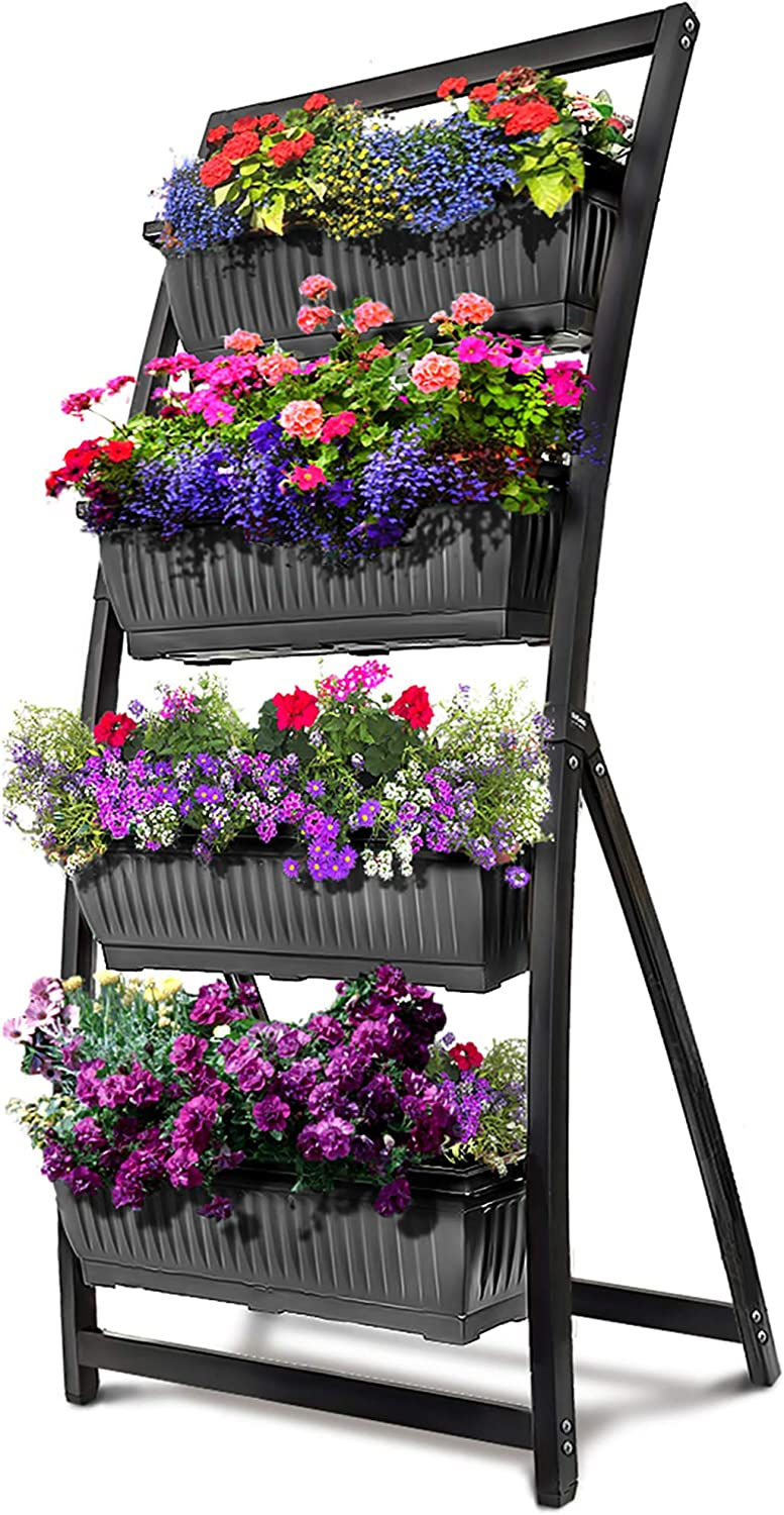 6-Ft Raised Garden Bed - Vertical Garden Freestanding Elevated Planter with 4 Container Boxes - Good for Patio or Balcony Indoor and Outdoor - Cascading Water Drainage (1-Pack/Granite Grey)