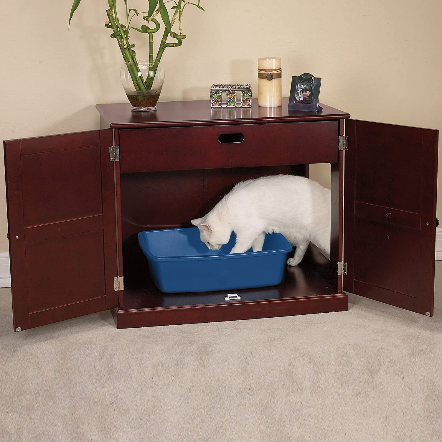 meow town mdf litter box. Amazon.com : Meow Town Concord Cat Litter Cabinet, Mahogany-Finished Concealer Pet Supplies Mdf Box