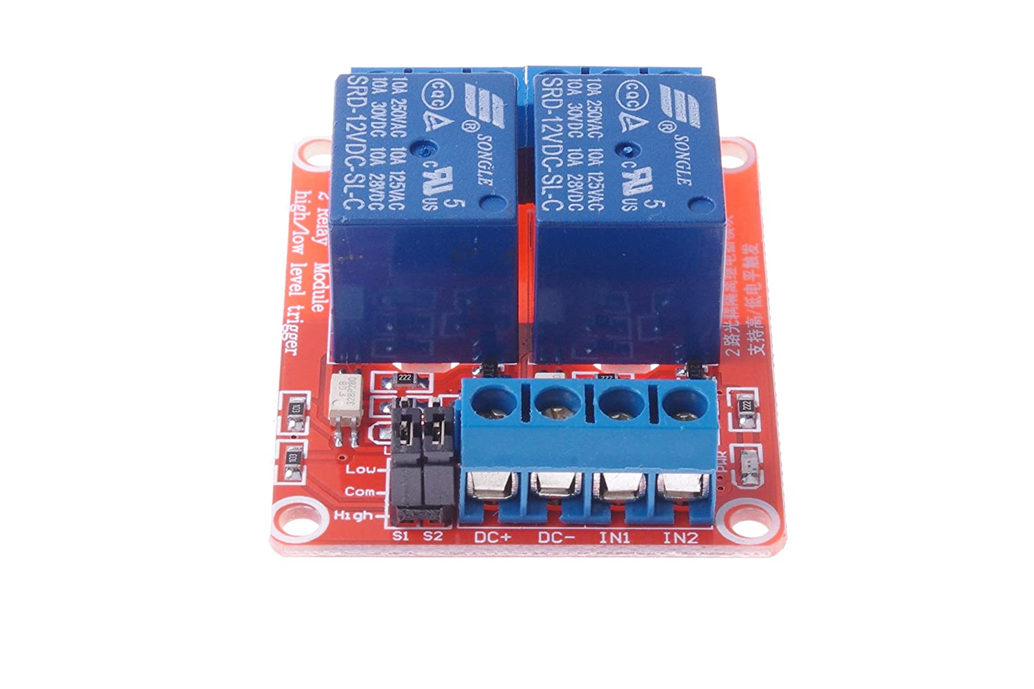 Smakn Dc 12v 2ch 2 Channel Isolated Optocoupler High 12 Volt Motor Starter Wiring Diagram Low Level Trigger Relay Module Home Audio Theater