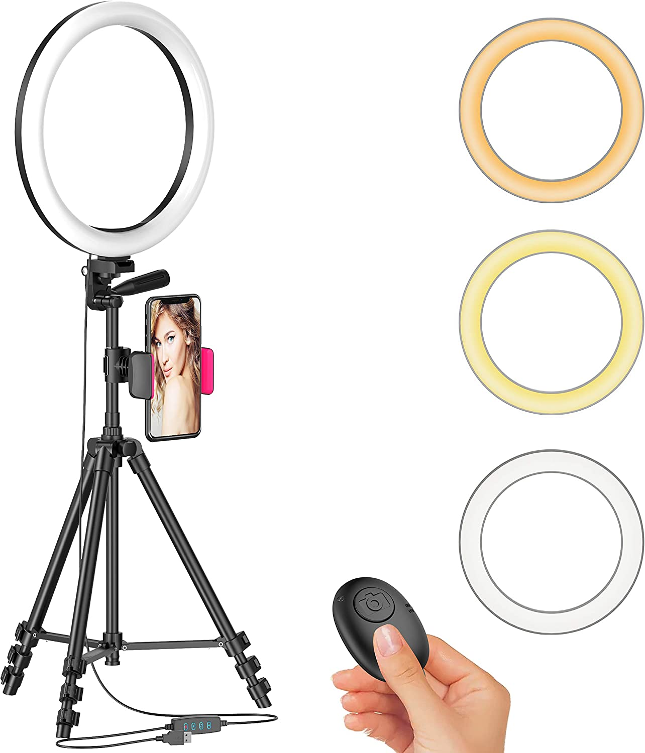 "12"" LED Selfie Ring Light with Tripod Stand & Cellphone Holder for Live Stream/Makeup/YouTube Video, Dimmable Beauty Ringlight, Color Temperature 3000K-6000K, 168Bulbs, Remote"