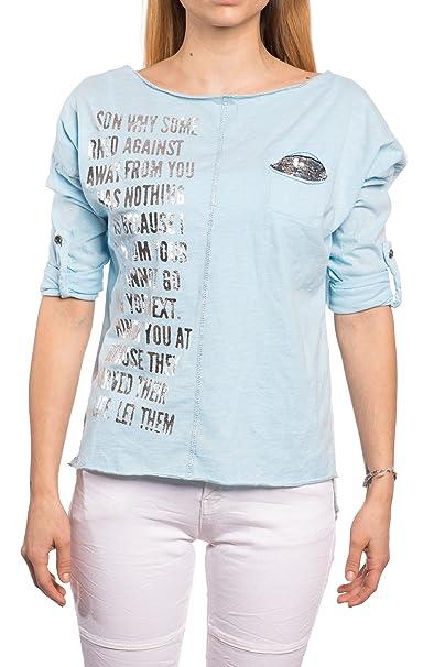 Abbino 12751 Camisa Blusa Top para Mujer - Hecho en Italia - 6 Colores - Entretiempo