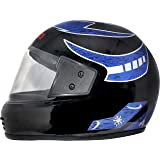 Motofly Galaxy Great Strong Full Face ISI APPROVED Motorbike Helmet (For- Men,Boys Colour- Black Grapic-Blue Size- L)