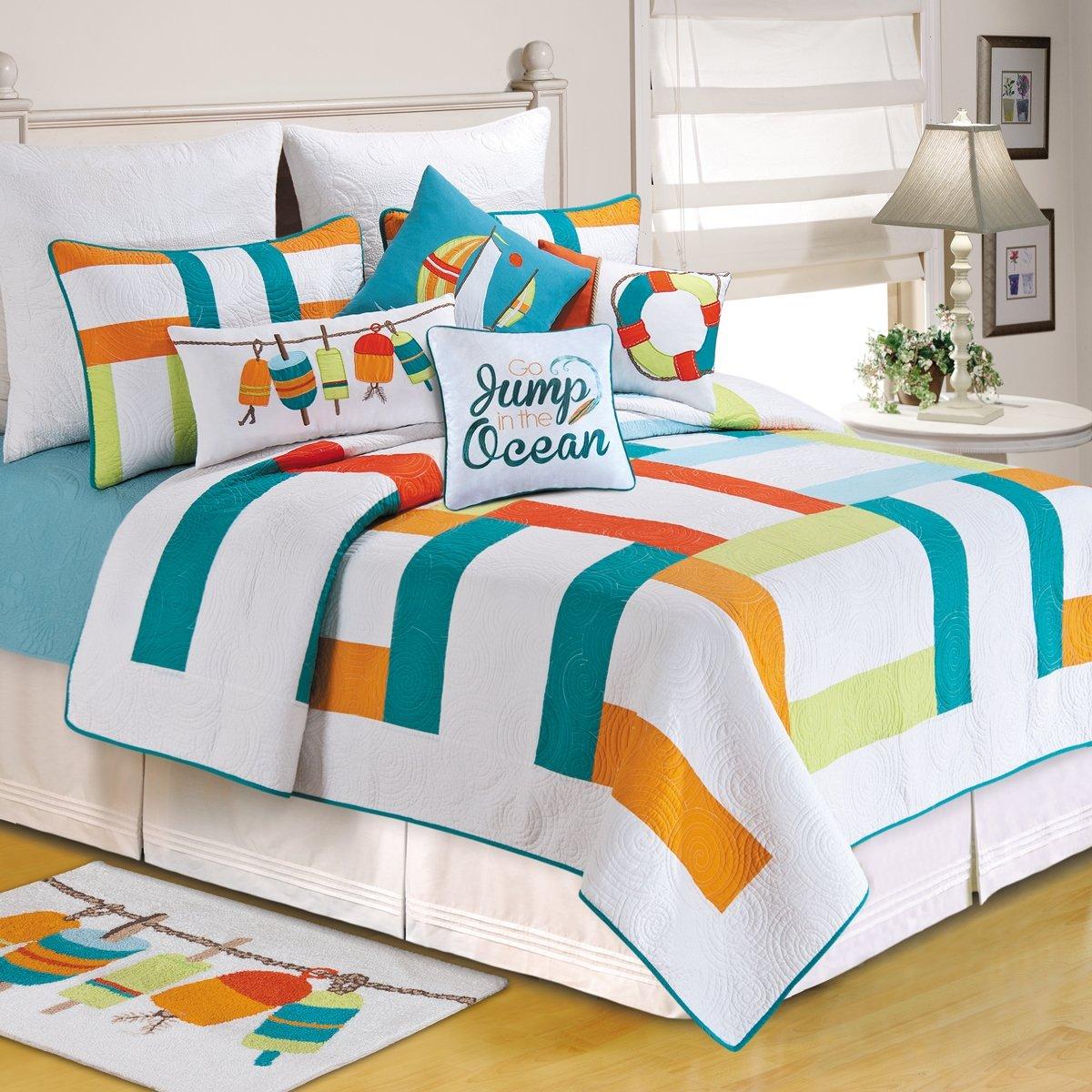 C&F Home 82011.8686 Zuma Bay for Q Quilt, Full/Queen, White