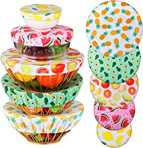 10 Pieces Reusable Bowl Covers Reusable Fabric Bowl Covers Elastic Food Bowls Storage Covers for Kitchen Picnic Food Bowls Storage Container, 4 to 12 Inch, 5 Styles