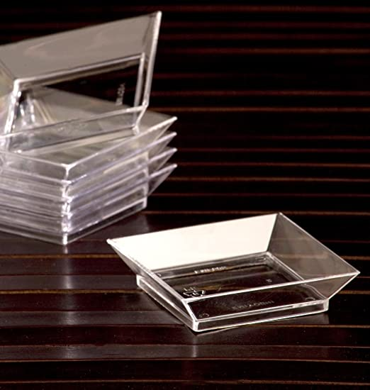 Amazon.com | Tasting Appetizer Combo Set / 100 Mini Petite Dessert Square Clear Plastic Plates u0026 100 Silver Tasting S&le Forks (200pc Set) Accent Plates & Amazon.com | Tasting Appetizer Combo Set / 100 Mini Petite Dessert ...