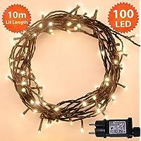Luces de hadas Navidad guirnalda luminosa 100 luces de árbol LED luces de cadena blancas cálidas interiores y exteriores con luz roja de 10 m / 32 pies con cable verde