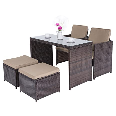 Charming Cloud Mountain Outdoor 5 Piece Rattan Wicker Furniture Bar Set Dining Set  Cushioned Patio Furniture Set
