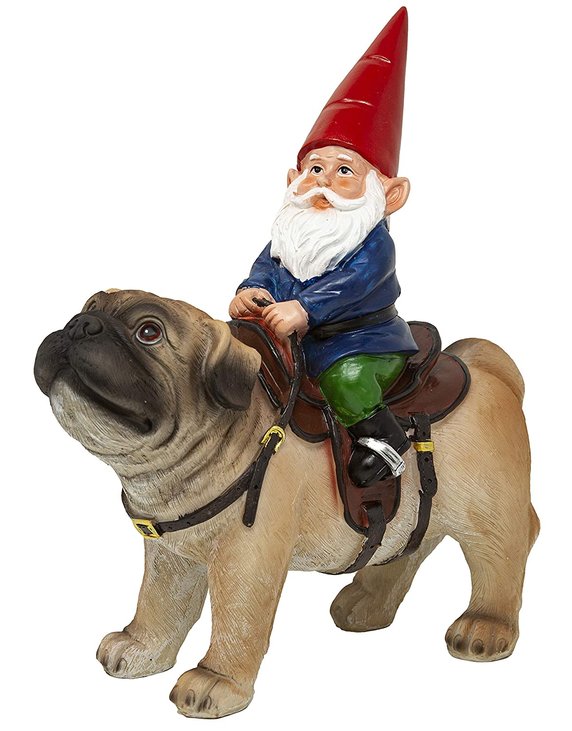 Funny Guy Mugs Garden Gnome Statue - Gnome Riding a Pug - Indoor/Outdoor Garden Gnome Sculpture for Patio, Yard or Lawn