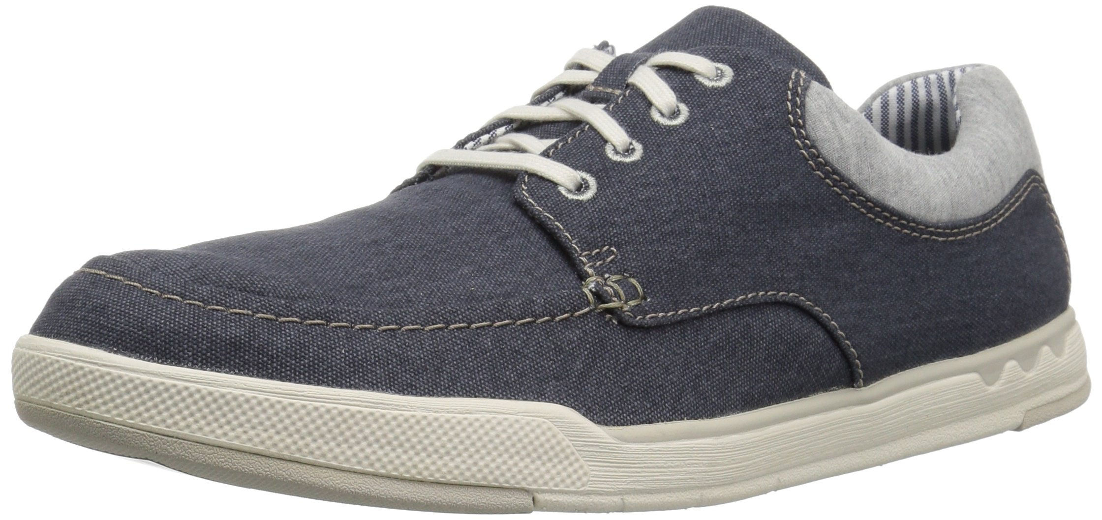 CLARKS Men's Step Isle Lace Sneaker, Navy Canvas, 7 Medium US