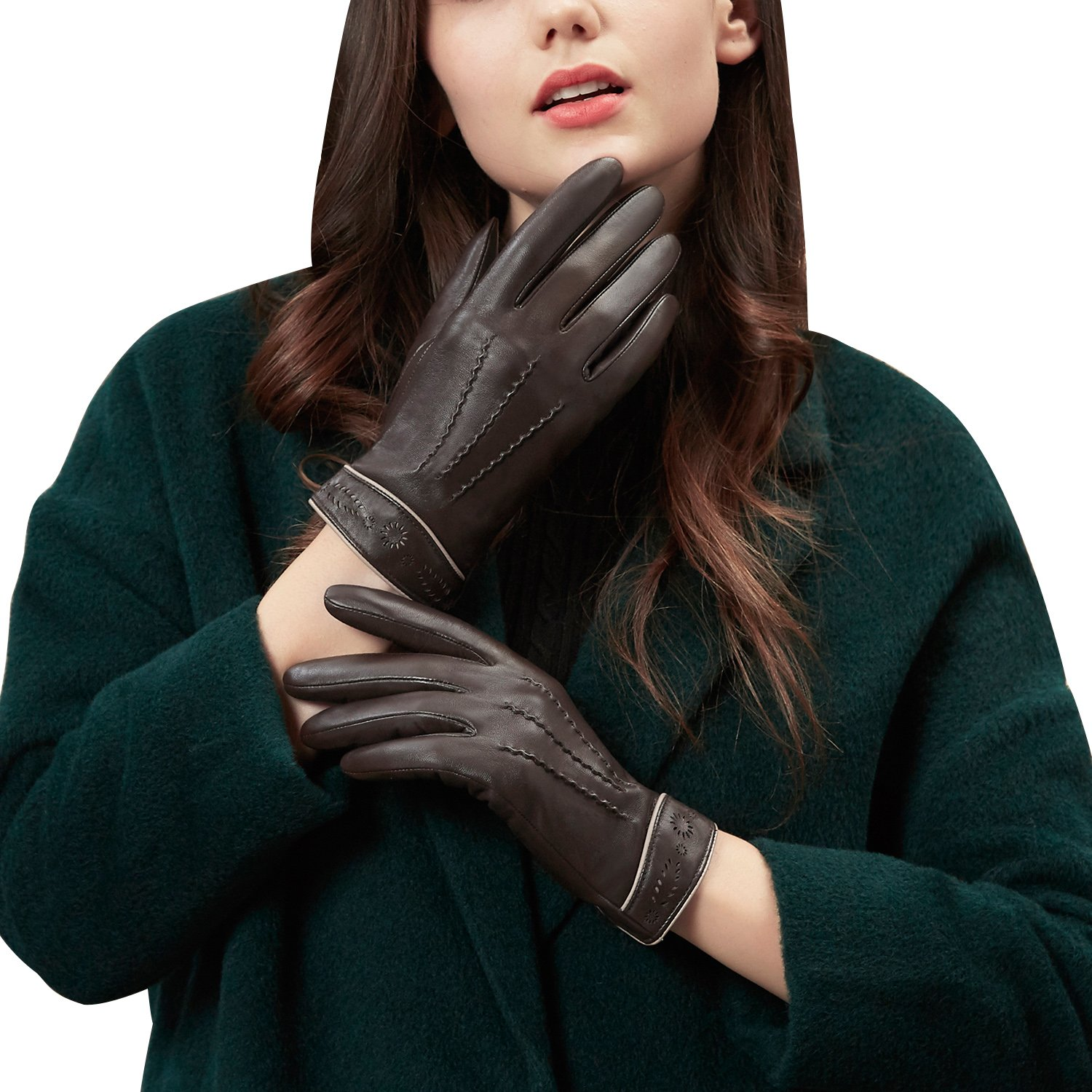 GSG Womens Exotic Sunflower Carved Driving Gloves 3-line Embossing Touchscreen Texting Gloves Genuine Leather Warm Winter Gifts Brown 7.5
