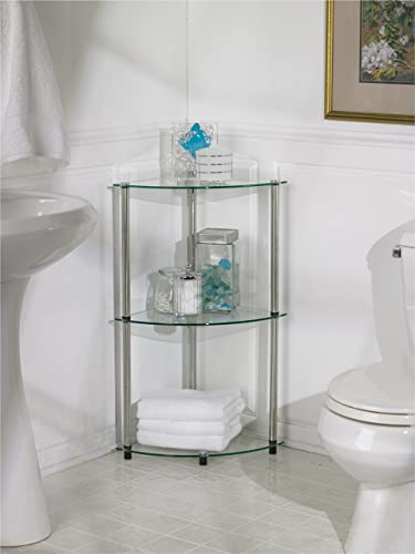 Convenience Concepts Designs2Go Go-Accsense 3-Tier Glass Corner Shelf, Clear Glass