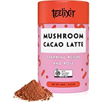 Teelixir Mushroom Raw Cacao Latte (100 g) Certified Organic Hot Chocolate Drink Mix with Reishi Superfood Extract Powder and Rose - Vegan, Paleo, Gluten Free, Unsweetened, Non GMO - Natural Stress and Sleep Support