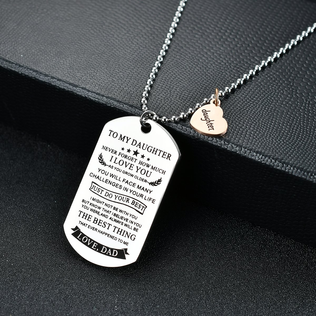 NOVLOVE To my daughter from dad Stainless Steel Dog Tag Letters To my daughter never forget how.love dad Pendant Necklace,Inspirational Gifts For daughter Jewelry by NOVLOVE (Image #3)