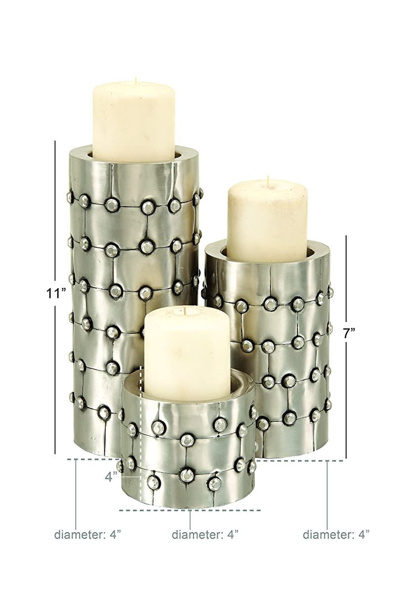 Deco 79 Set of 3 Metal Candle Holders