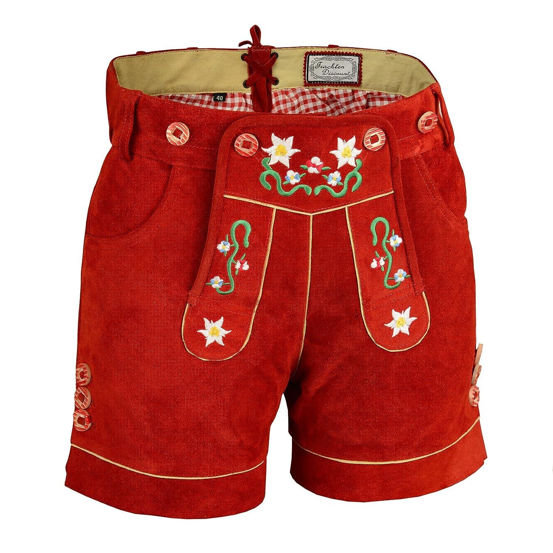 Attraktive Damenlederhose kurz aus Premium-Velourleder Traditionell mit Blumenstick und Herztasche, Rot