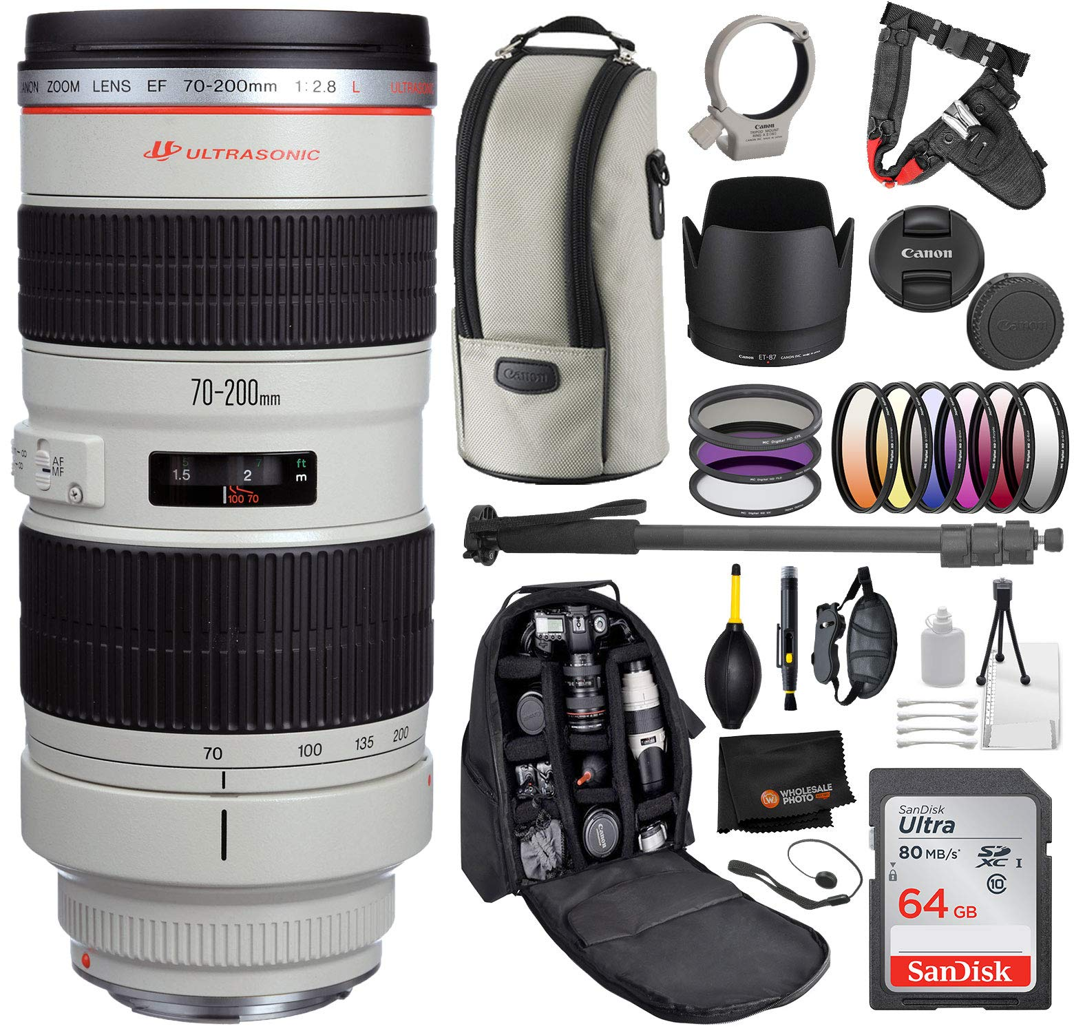 Canon EF 70-200mm f/2.8L USM Lens with Professional Bundle Package Deal Kit for EOS 7D Mark II, 6D Mark II, 5D Mark IV, 5D S R, 5D S, 5D Mark III, 80D, 70D, 77D, T5, T6, T6s, T7i, SL2