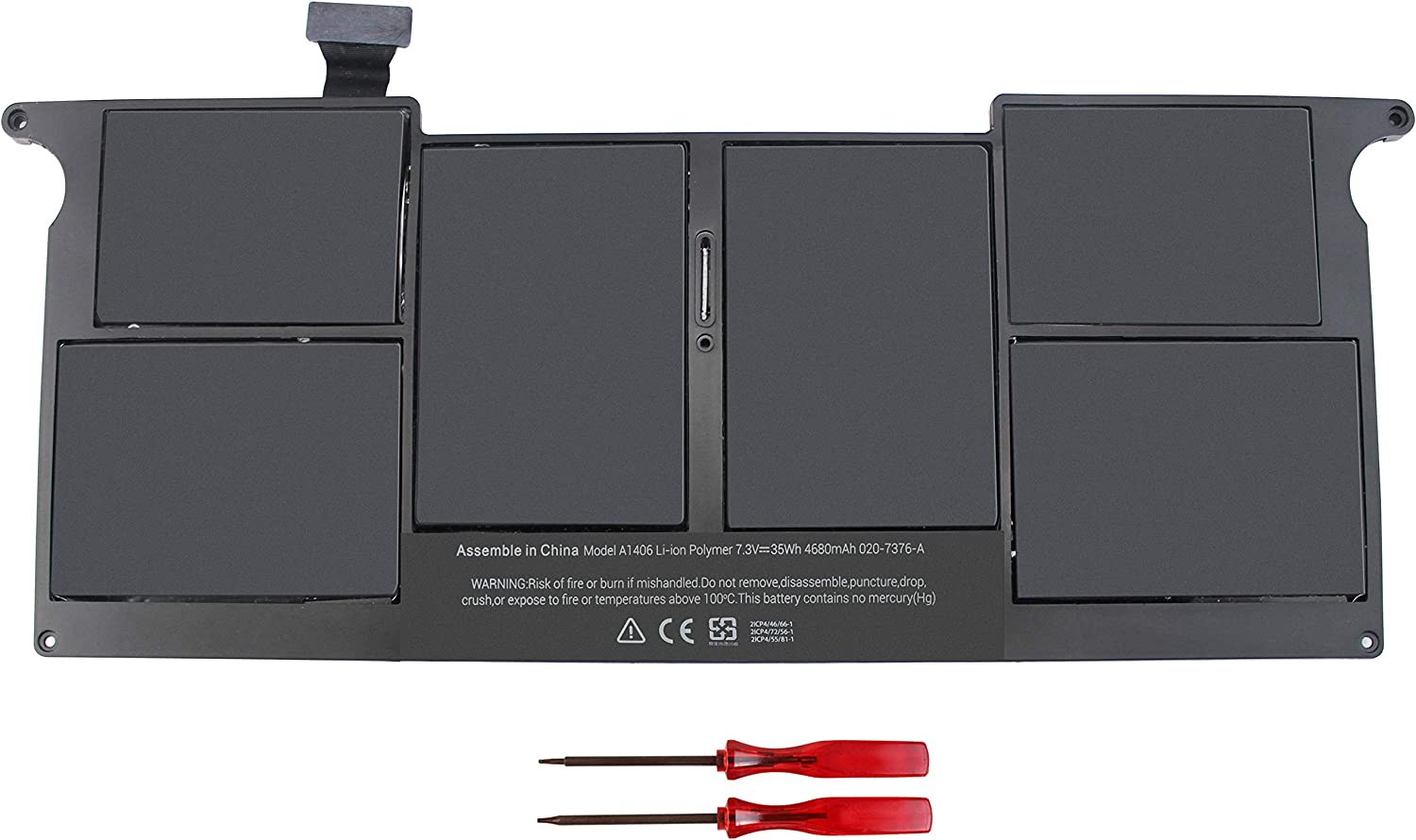 A1406 A1370 A1465 Battery for MacBook Air 11'' A1406 A1370 A1465 A1495 (Mid 2011 2012 2013 Early 2014 2015 Version) fits: MC968 MD223 MD711 020-7376-A 020-7377-A 7.3V 35WH