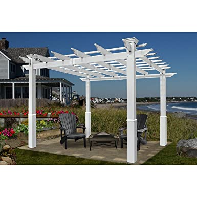 8 Ft. X 8 Ft. Bel Aire White Vinyl Pergola With Tall Base Molding
