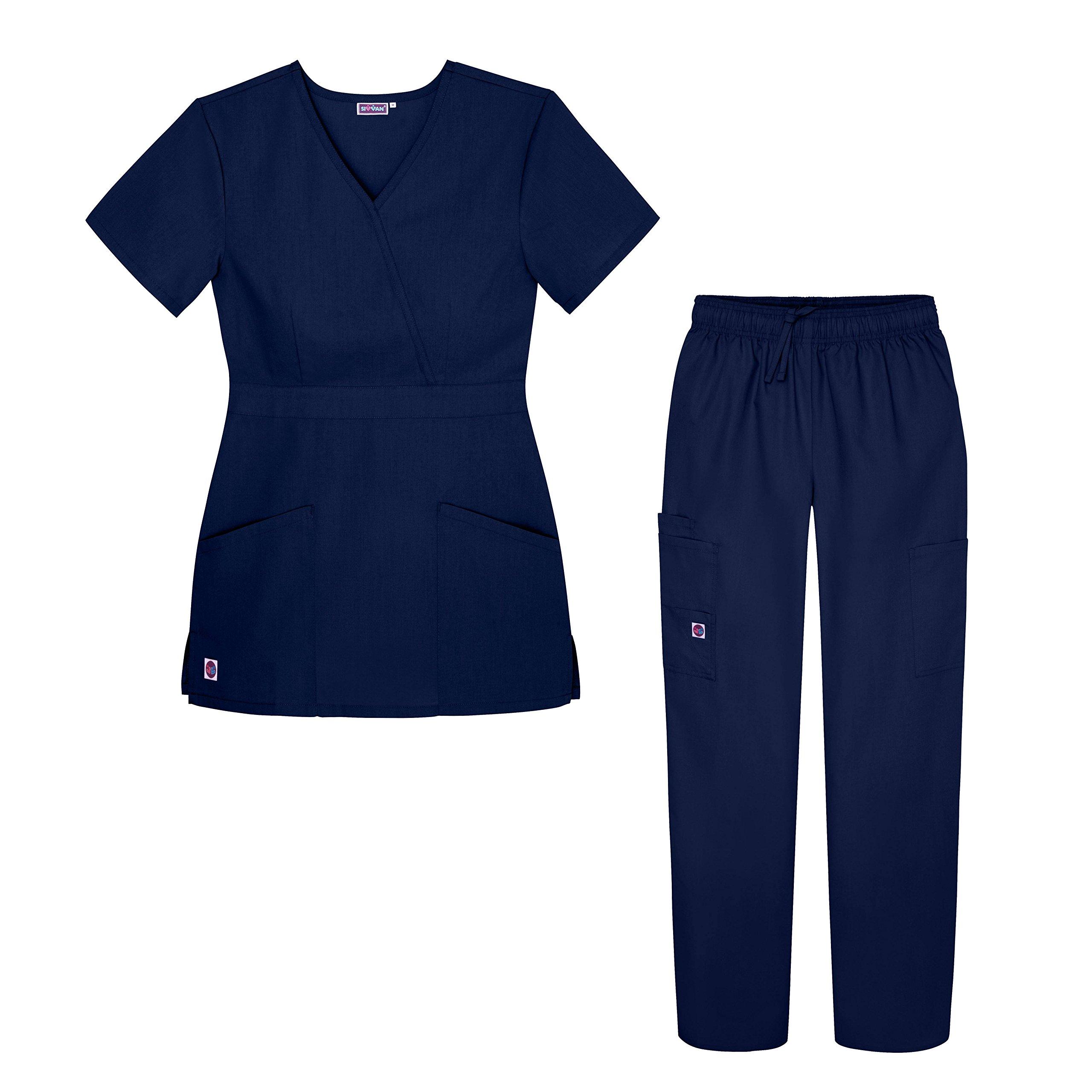 Sivvan Women's Scrub Set - Multi Pocket Cargo Pants & Stylish Mock Wrap Top - S8401 - Nvy - XS