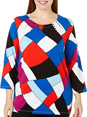 7386aa54a52 Alfred Dunner Plus Size Stain Glass Top at Amazon Women s Clothing ...