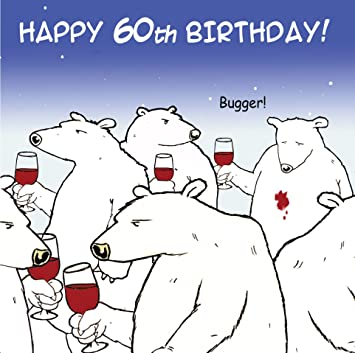 Twizler Funny Birthday Card With Polar Bear And Wine 60th Birthday