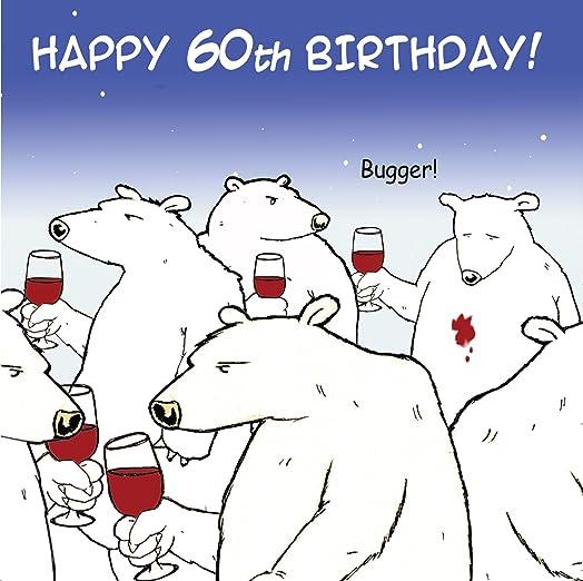 Twizler Funny Birthday Card with Polar Bear and Wine 60th – 60th Birthday Cards Funny