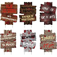 luck sea 6PCS Halloween Decorations Yard Signs Stakes Beware Props Outdoor Decor Scary Zombie Vampire Graves Party…