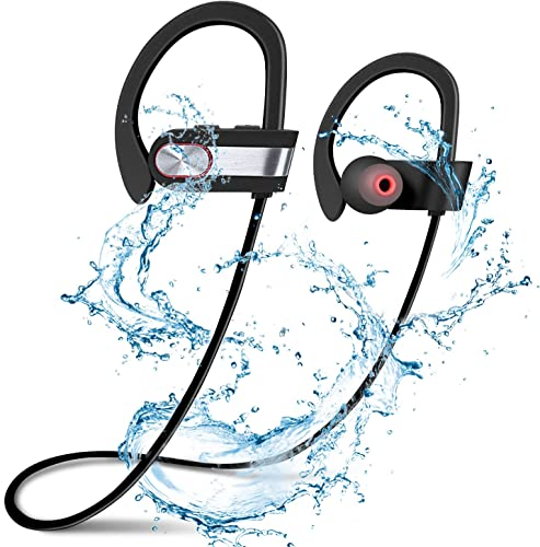Uniquebella Wireless Bluetooth 4.1 Headphones Best Sports Earphones IPX4 Waterproof HD Stereo Sound Sweatproof Earbuds for Gym Running Workout 8 Hour Battery Noise Cancelling Headsets – Silvery
