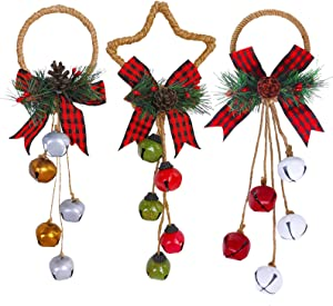 3 Pcs Christmas Pine Berry Pinecones Jingle Bell and Buffalo Check Bow Door Hanger Wall Hanger Ornaments for Christmas Holiday Rustic Vintage Farmhouse Wreath Door Winter Wedding Charm Decoration