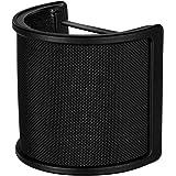 Mikrofon popfilter metall nät och skumlager mikrofon skydd handhållen mikrofon vindruta studio sköld montering, svart