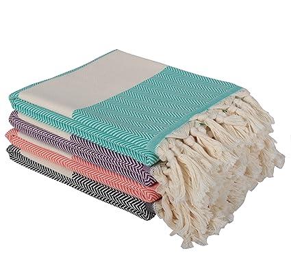 Amazon.com: (Set of 4) Turkish Cotton Herringbone Peshtemal ...