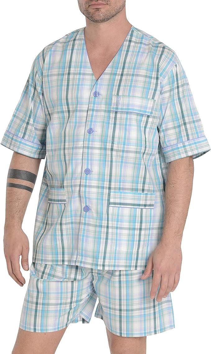 El Búho Nocturno Pijama de Caballero de Manga Corta y Chaqueta a Botones clásico a Cuadros de Tela popelín para Hombre M Aguamarina Azul Cuadros
