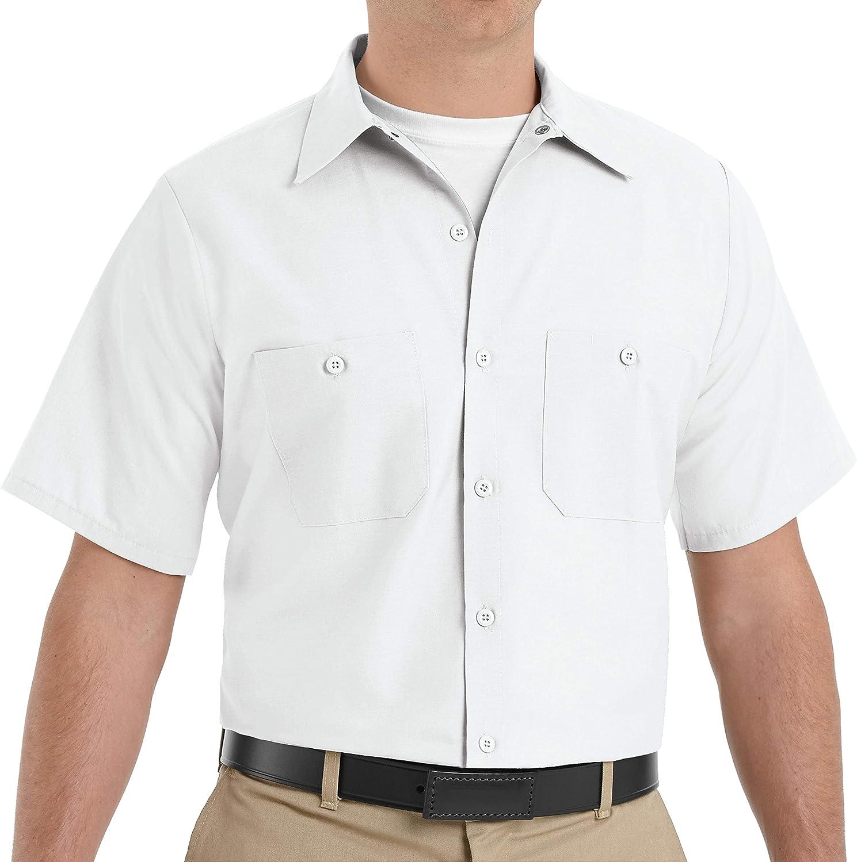 Red Kap Men's Size Industrial Work Shirt, Regular Fit, Short Sleeve, White, X-Large/Tall