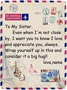 InterestPrint Personalized Long Distance Blanket, Flannel Throw Blanket for Sister, Custom Any Relationship or Name, Ultra-Soft Blanket for Couch Bedroom Home Decor, 30x40-60x80 Inch
