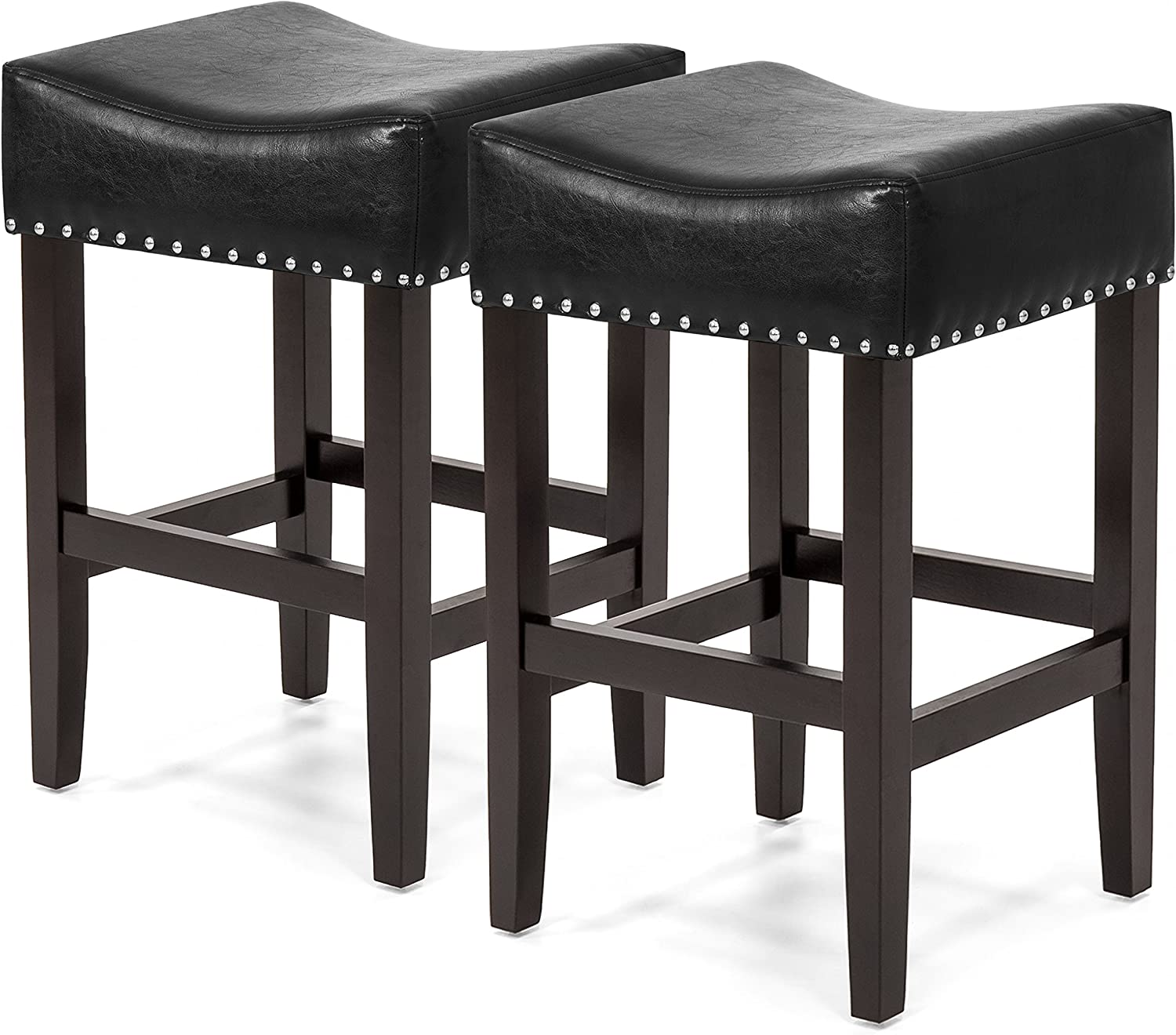 Best Choice Products 26in Faux Leather Upholstered Counter Stools w Wooden Base and Silver Nailhead Trim, Set of 2, Black