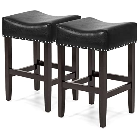 Cool Best Choice Products 26In Faux Leather Upholstered Counter Stools W Wooden Base And Silver Nailhead Trim Set Of 2 Black Dailytribune Chair Design For Home Dailytribuneorg
