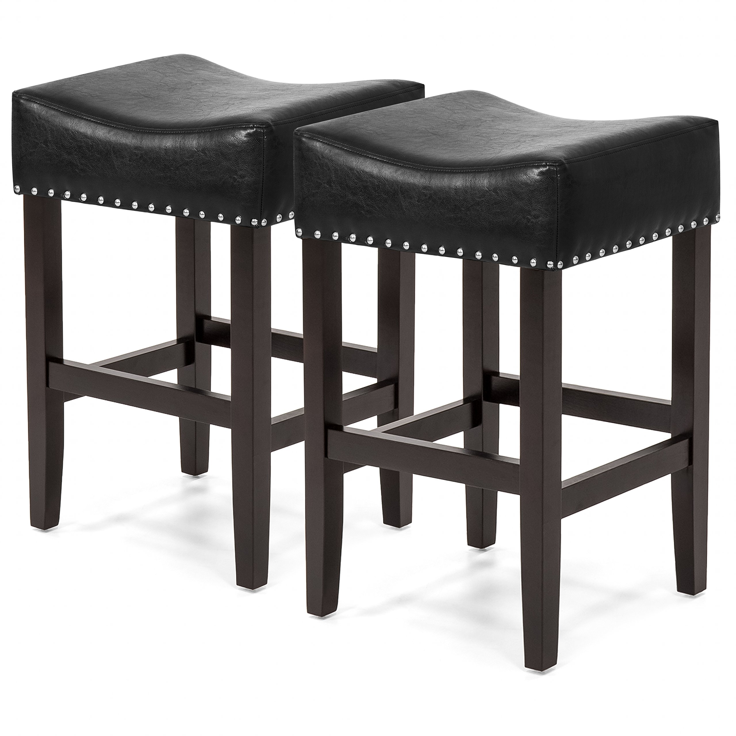 Best Choice Products Set of 2 Backless Faux Leather Upholstered 26in Counter Stools w/ Silver Nailhead Trim - Black