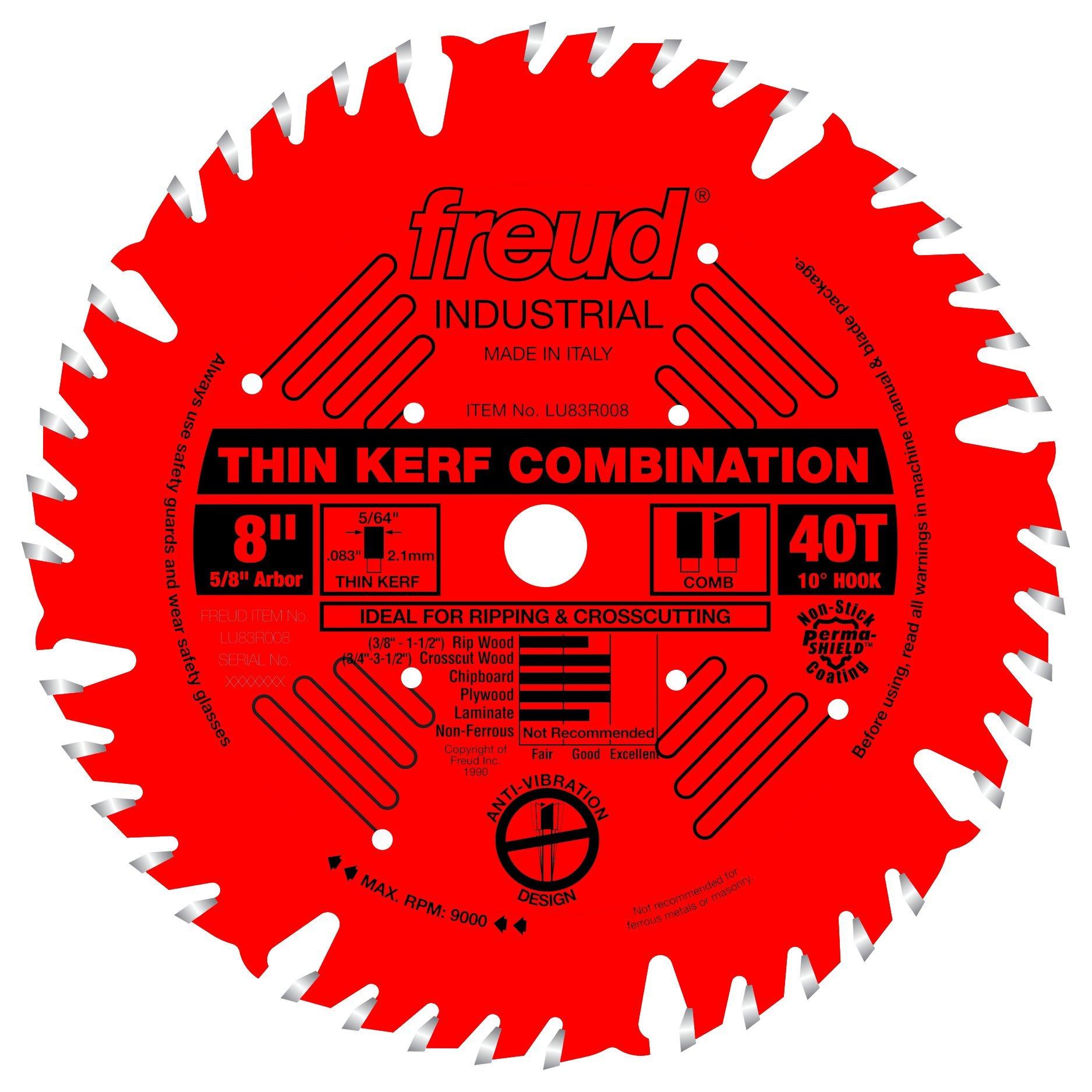 Disco Sierra FREUD Combinación 8 x 40T Thin Kerf (LU83R008