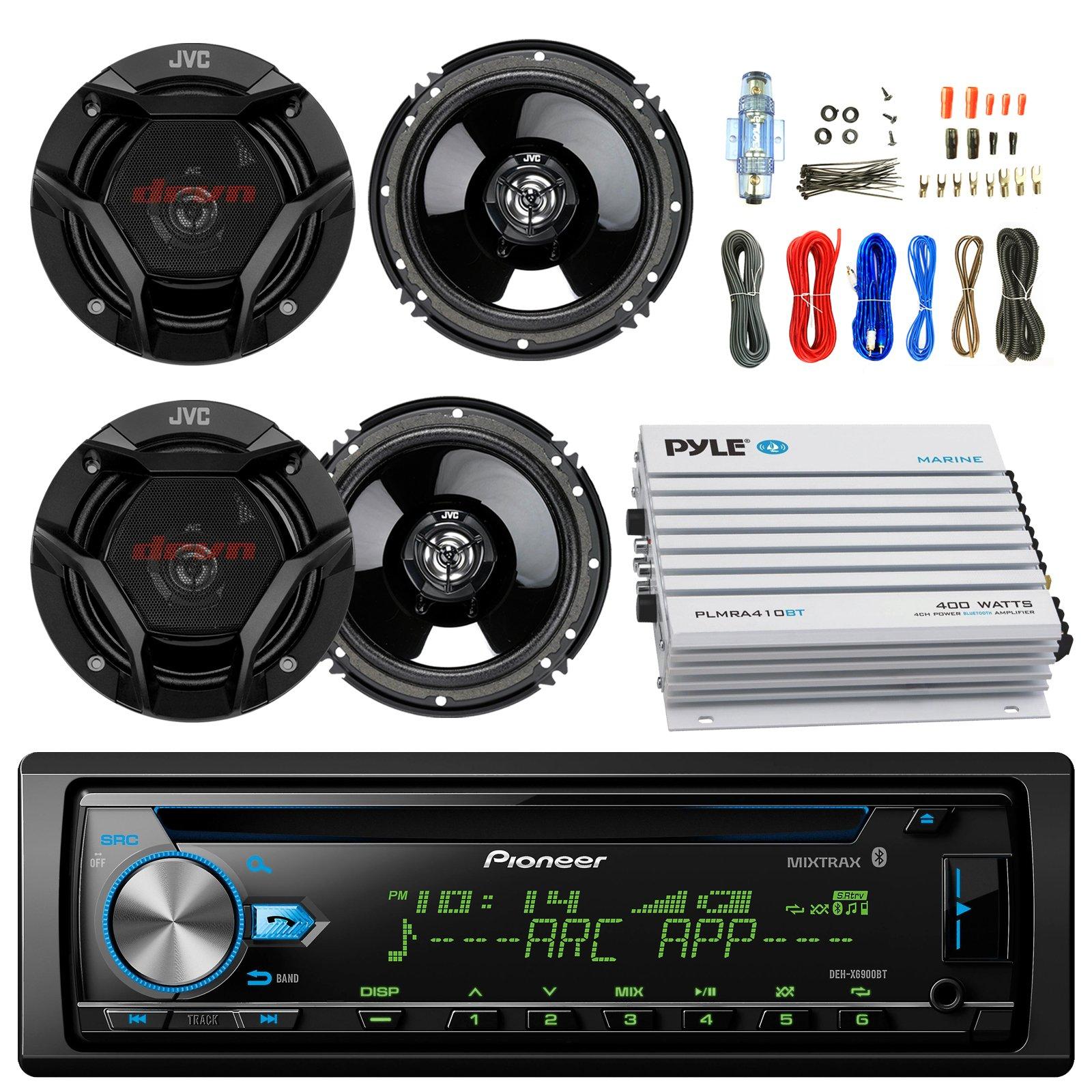 Pioneer DEH-X6900BT Car CD Player Receiver Bluetooth USB AUX Radio - Bundle Combo With 4x JVC CSDR620 6.5'' Inch 300-Watt 2-Way Black Audio Coaxial Speakers + + 4-Channel Amplifier + Amp Kit by EnrockAutomotiveBundle