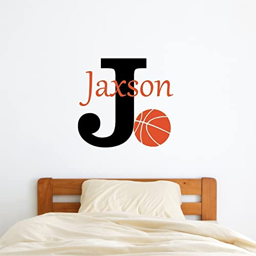 Custom Name Basketball Wall Decal   Boys Girls Personalized Name Basketball  Sports Wall Sticker   Custom