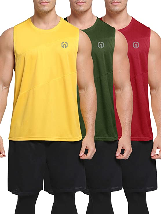 Neleus Men's 3 Pack Muscle Running Sleeveless Tank Top for Workout Gym,5054,Olive Green/Red/Yellow,US S,EU M