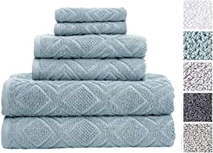 Classic Turkish Towels 6 Piece Cotton Bath Towel Set - Luxury Soft and Thick Bath Towels 600 GSM Made with 100% Turkish Cotton (Sea Grass)
