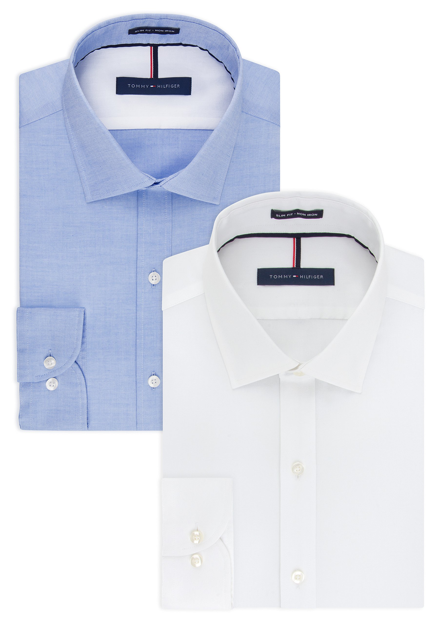 Tommy Hilfiger Men's Non Iron Slim Fit Solid Spread Collar Dress Shirt, White/Blue, 15.5'' Neck 32''-33'' Sleeve