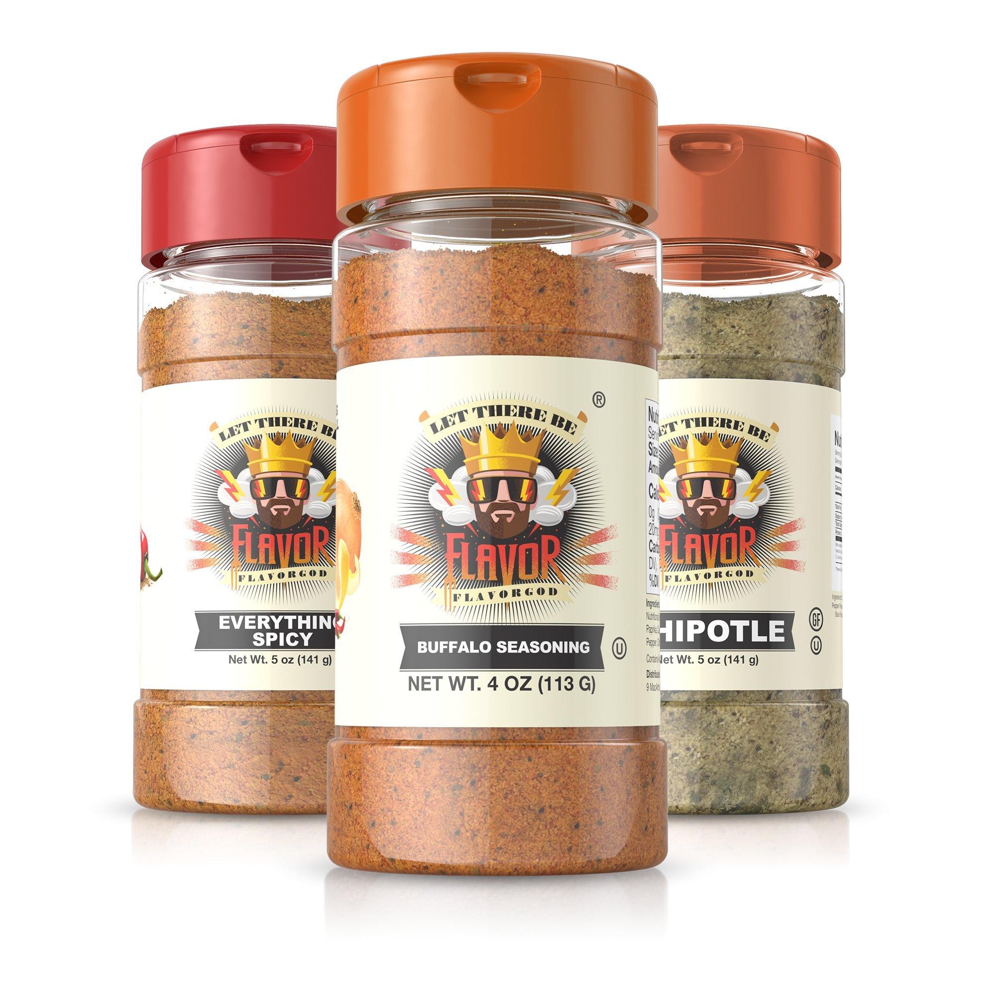 Flavor God #1 Best-Selling Seasonings Ring of Fire BBQ Combo Edition, Gluten Free, Low Sodium, Paleo, Vegan, No MSG 5oz. (3 Bottles)